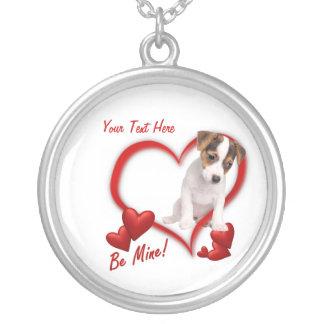 ジャックラッセルの子犬は鉱山のバレンタインデーのネックレスです シルバープレートネックレス