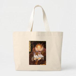ジャックラッセルの組-女王 ラージトートバッグ