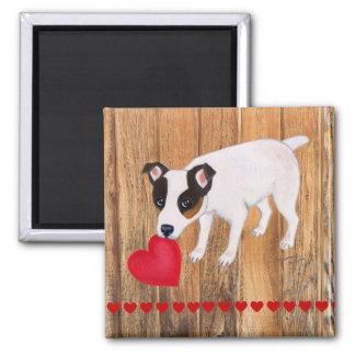 ジャックラッセルテリアのバレンタイン木磁石 マグネット
