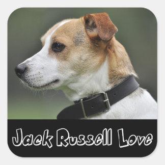 ジャックラッセルテリアの小犬のステッカー/シールを愛して下さい スクエアシール