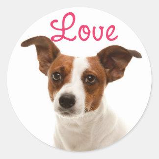 ジャックラッセルテリアの小犬のステッカー/シールを愛して下さい ラウンドシール