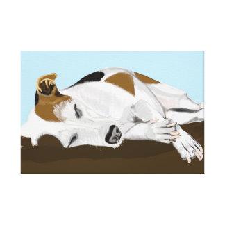 ジャック睡眠のラッセルテリア キャンバスプリント