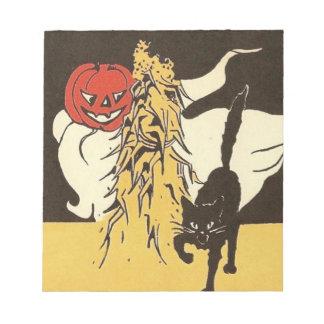 ジャックOのランタンの幽霊の黒猫Cornstalk ノートパッド