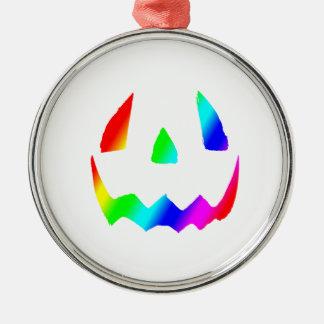 ジャックOのランタンの虹の顔 メタルオーナメント