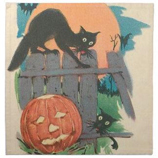 ジャックOのランタンの黒猫のこうもりの満月 ナプキンクロス
