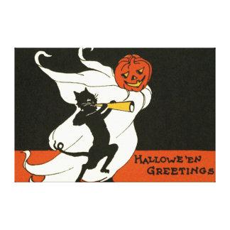 ジャックOのランタンの黒猫の幽霊の角 キャンバスプリント