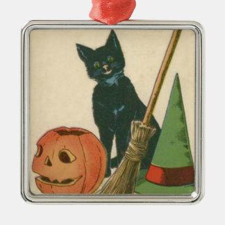 ジャックOのランタンの黒猫の魔法使いの帽子のほうき メタルオーナメント