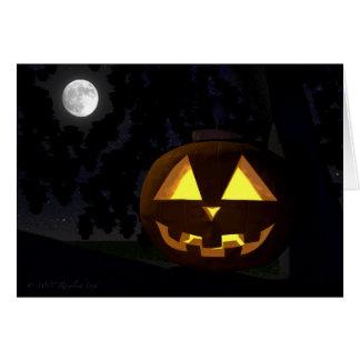 ジャックO'Lanternおよび月のハロウィンの挨拶状 カード
