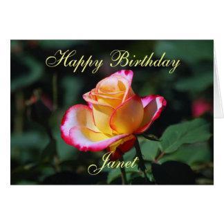 ジャネットのハッピーバースデーの赤く、黄色および白いバラ カード