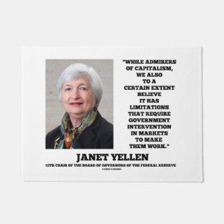 ジャネットYellenの賛美者の資本主義のGovtの介在 ドアマット