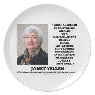 ジャネットYellenの賛美者の資本主義のGovtの介在 プレート