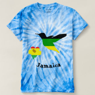 ジャマイカおよびラスタ色のハチドリそして花 Tシャツ