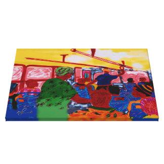 ジャマイカのバスの利用客コンピュータ絵画 キャンバスプリント
