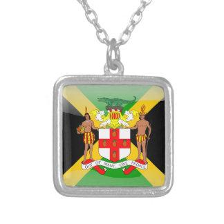ジャマイカの光沢のある旗 シルバープレートネックレス