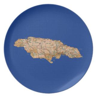 ジャマイカの地図のプレート プレート
