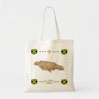 ジャマイカの地図 + 旗のバッグ トートバッグ
