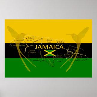 ジャマイカの教区色のハチドリポスターサイズ ポスター