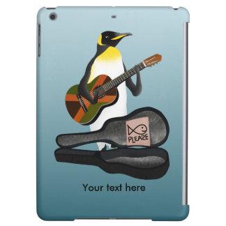 ジャマイカの旗のギターを持つペンギンBusking