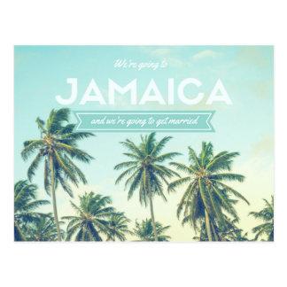 ジャマイカの熱帯ビーチ結婚式の保存日付 ポストカード
