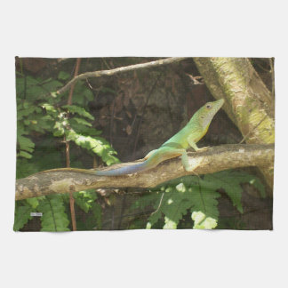 ジャマイカの緑トカゲ キッチンタオル