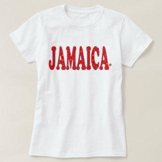 ジャマイカの花の赤はTシャツジャマイカの活気付きます Tシャツ