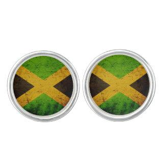 ジャマイカの黒くグランジな旗 カフスボタン