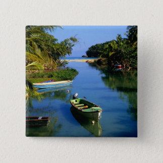 ジャマイカのOcho Riosの近くの景色の川 5.1cm 正方形バッジ