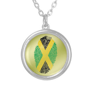 ジャマイカのtouchの指紋の旗 シルバープレートネックレス
