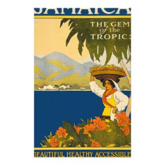 ジャマイカ熱帯地方のヴィンテージ旅行の宝石 便箋