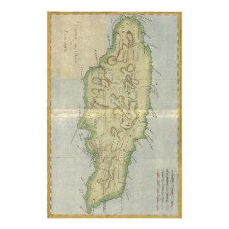 ジャマイカ(1780年)のヴィンテージの地図 便箋