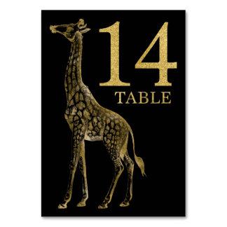 ジャングルのアフリカ動物のキリンのテーブル数カード14 カード