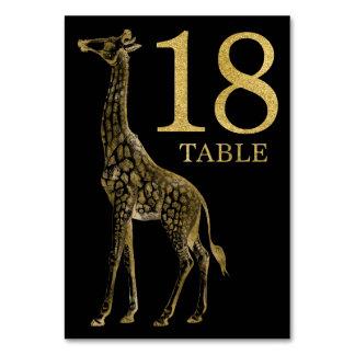 ジャングルのアフリカ動物のキリンのテーブル数カード18 カード