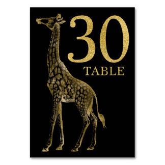 ジャングルのアフリカ動物のキリンのテーブル数カード30 カード