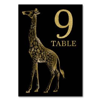ジャングルのアフリカ動物のキリンのテーブル数カード9 カード