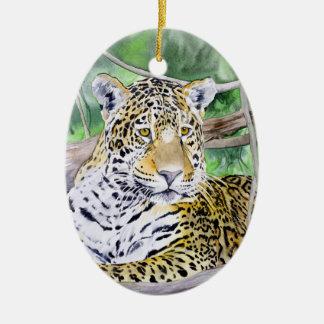 ジャングルのジャガーの水彩画のファインアート セラミックオーナメント