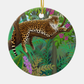 ジャングルのヒョウの休日のオーナメント セラミックオーナメント