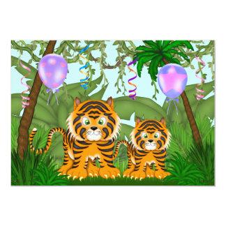 ジャングルのベンガルトラのベビーシャワーの招待状の~の女の子 12.7 X 17.8 インビテーションカード
