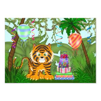 ジャングルのベンガルトラの誕生日のパーティの招待状 カード