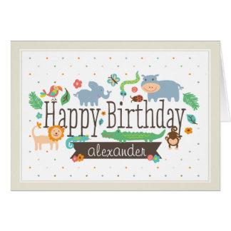 ジャングルの子供の誕生日カード グリーティングカード