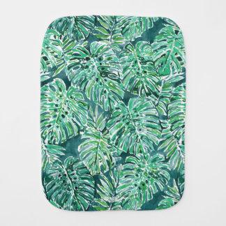 ジャングルの感情の緑の熱帯Monsteraパターン バープクロス