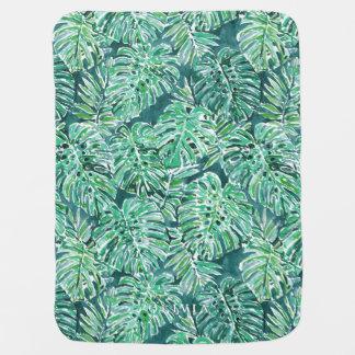 ジャングルの感情の緑の熱帯Monsteraパターン ベビー ブランケット