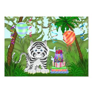 ジャングルの白いトラの誕生日のパーティの招待状 12.7 X 17.8 インビテーションカード