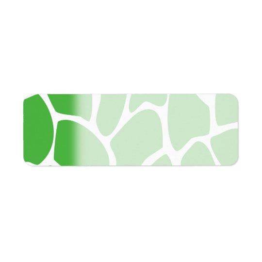 ジャングルの緑のキリンのプリントパターン 返信用宛名ラベル