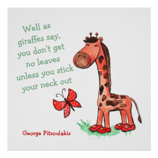 ジャングルの花型女性歌手のキリンの引用文ポスター ポスター