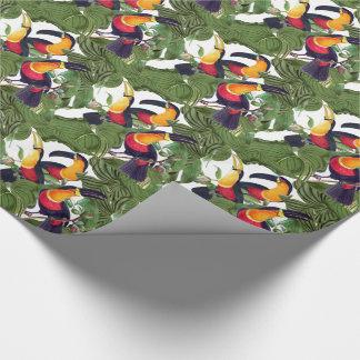 ジャングルのToucanの鳥の野性生物の葉の包装紙 ラッピングペーパー
