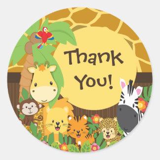 ジャングルサファリのベビー動物のステッカーありがとう ラウンドシール