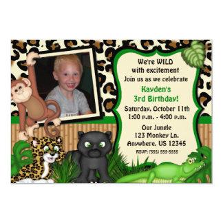 ジャングルサファリの子供の誕生日の招待状 カード