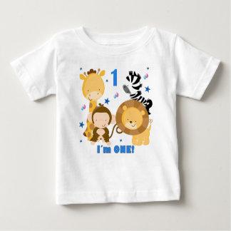 ジャングルサファリの第1誕生日のTシャツ ベビーTシャツ