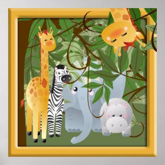 ジャングルサファリ動物の子供部屋ポスター ポスター