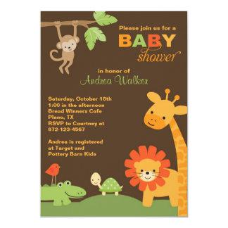 ジャングル動物のベビーシャワーの招待状 カード
